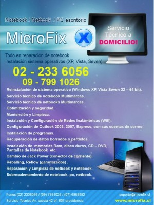 servicio tecnico notebook, netbook a domicilio