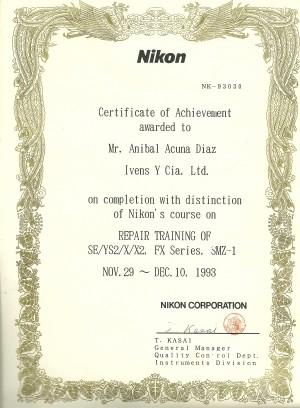 certificado tecnico nikon se ys2 x x2 labophot eclipse