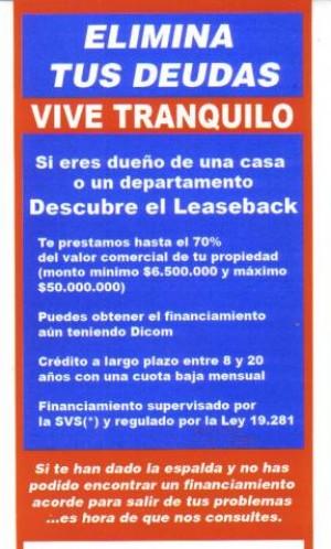 nuevo credito!! unico legal con dicom o protestos en chile. svs