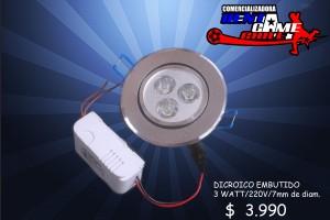 dicroico led embutido 3 watt/220v/luzfria/precio:  $ 3990
