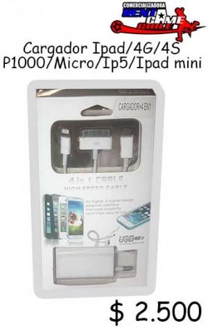 cargador ipad/4g/4s/p1000/micro/ip5/ipad mini precio oferta: $ 2.500
