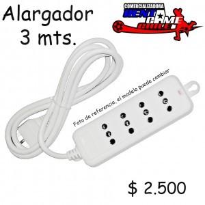 alargador 3 mts/4 tomas de corriente .- precio: $ 2.500