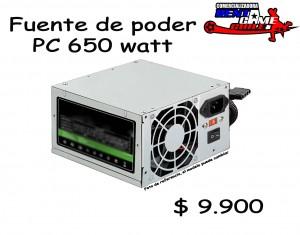 fuente de poder pc 650 watt/precio: $ 9.900