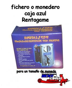 fichero o monedero caja azul rentagame/maquinas de juego