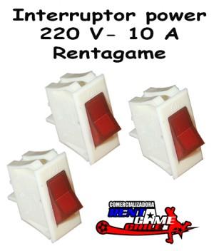interruptor power rentagame /220 v -10 a / maquinas de juego