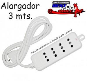 alargador 3 mts/ 4 tomas de corriente rentagame/envios a todo chile