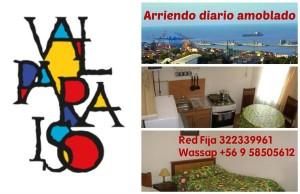 valparaiso, casa amoblada 1 ambiente arriendo diario, fono 322339961