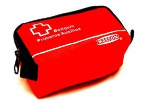 botiquin nylon rojo personal minero primeros auxilios personal 13x8x6 cms.